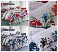 Garden Flowers Bright Teal Floral Luxury Duvet Covers Set & Pillowcases All Size