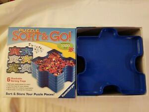 Puzzle Sort & Go! 6 Stackable Plastic Puzzle Shaped Sorting Trays- Ravensburger