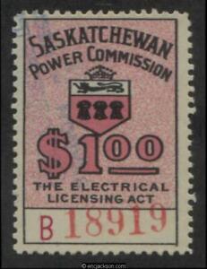 Saskatchewan Electrical Stamp, SE22 used, F-VF