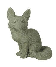 Zeckos Grey Cement Sitting Fox Indoor Outdoor Statue