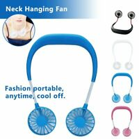Portable USB Micro Rechargeable Mini Neckband Lazy Neck Hanging Fan Cool #T