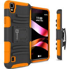 For LG Tribute HD / X Style Belt Clip Case Holster Hybrid Armor Cover Orange