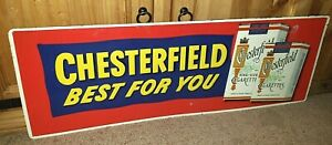 SMOOTH Vintage 1950's Chesterfield Embossed Pressed Steel Enamel Sign EXCELLENT