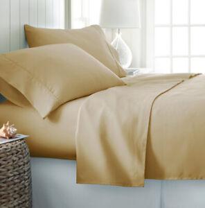 4 Pieces Light Gold Oversize/Deep Pocket Wrinkle Free Premium Bamboo Sheet Set