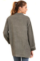 UMGEE Womens Grey Washed Faded Distressed Long Sleeve Tunic Top Shirt S M L