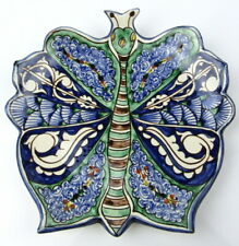 Signed Majolica Ceramic Hand Painted Butterfly Spoon Rest Dish Wall Hang Pottery
