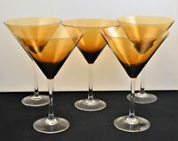 VINTAGE SET OF 5 LARGE MARTINI MARGARITA GLASSES AMBER AND CLEAR