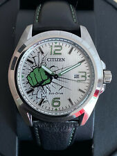 Citizen Eco-Drive Marvel Hulk **AW1431-24W** Black Leather Strap Watch