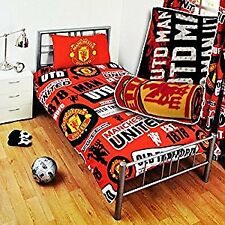 Manchester United Patch Design Single Duvet Set with Impact Fleece Blanket Combo