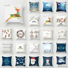 Xmas Merry Christmas Pillow Case Polyester Sofa Throw Cushion Cover Home Decor