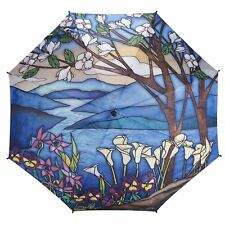 Galleria Stained Glass Print Auto Open & Close Large Folding Umbrella Brolly