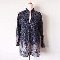 MARDELLA Size 8-10 Navy Blue Batik Leaf Print 3/4 Sleeve Cotton Tunic Top Boho