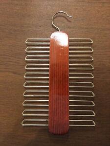 Vintage German Wooden Tie Or Belt Rack Mens Organiser Space Saver T2163