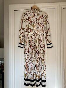 H&M, Pleated Shirt Dress, Scarf Print, Cream, Size UK 10/ EU 38 NEW