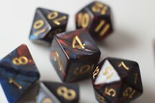 NEW Red & Blue Dragon Scale Swirl Poly Dice Set (7) New RPG DnD w/ Gold Numbers