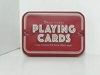 Traditional Playing Cards Classic 52 Card Deck Complete In Red Tin xmas party
