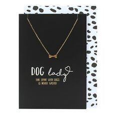 Birthday Card & Gift Necklace, gift for Dog Lover, gold bone necklace black card
