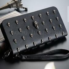 Ladies Skull Smile 3D Studded Leather Goth Purse Wallet Bag Clutch Handbag Women