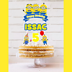MINIONS Cake Topper Personalised *STURDY* Kids Birthday Party Decorations