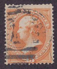 US 163 Used 1873 15¢ Yellow Orange Daniel Webster