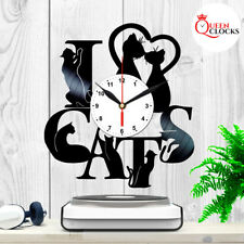 I Love Cats Animal Vinyl Record Wall Clock Black Vintage Home Decor Gift Ideas