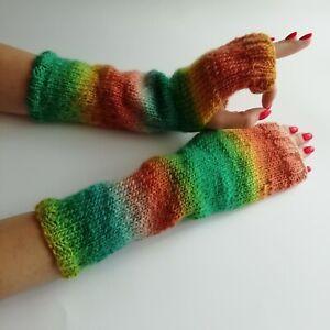 Bright rainbow wool knitted long mittens handmade Fingerless gloves Warm mitts