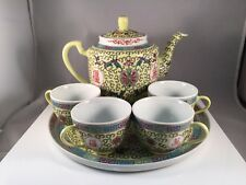 SET-CHINESE-MUN SHOU-YELLOW TEA POT TRAY AND 4 CUPS WITH LUCKY SYMBOLS