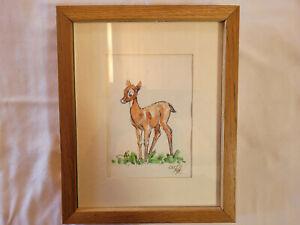 "Disney Willis Pyle original drawing of Bambi's Mother (1938), 9""x11"" frame,"
