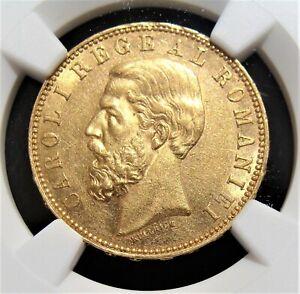 Romania: Carol I gold 20 Lei 1890-B AU58 NGC