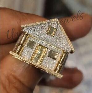 3.20ct Mens Round Sim Diamond Customize House Ring With Free Pendant 925 Silver