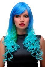Peluca de Mujer Cosplay Azul Turquesa Verde Mix Largo Rizos 65 CM GFW2174