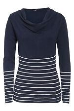 Gestreifte feine Damen-Pullover mit Wasserfall-Ausschnitt