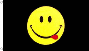 BLACK SMILEY FACE FLAG 5' x 3' Be Happy Smile Acid Party Fun Flags
