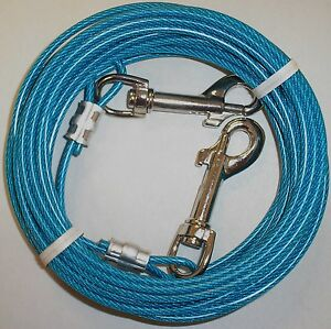 30 Ft Small To Medium Dogs Tie Out Cable Leash up to 30 lbs Made In USA