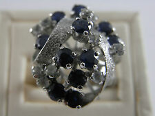 Vintage 14K 14ct White Gold Blue and White Sapphire Ring