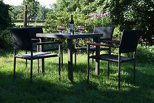 Garnitur HAWAII braun schwarz Rattan Aluminium Bambus Gartenmöbel Poly Garten