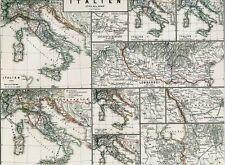 Vecchia CARTINA ITALIA 1798-1866 Napoleone MAGENTA Marengo Novara Solferino 1871