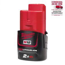 Milwaukee M12b2 M12 12v 2.0ah Rosso ioni di Litio Batteria