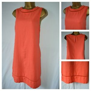Next Ladies Red Orange Linen Mix Pockets Shift Tunic Dress Size 6 8 10 16 18 BNW