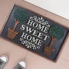 Tappeto Zerbino In Gomma Home Sweet Home Figura con Alberi Rilievo 75x45cm Nero