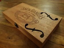 Jack Daniels Cigar Box for DIY Project guitar with invert F hole Teak Stain