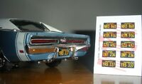 1965 - 1969 CALIFORNIA miniature LICENSE PLATES for 1/25 scale MODEL CARS