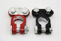 12V Heavy Duty Colored Car Battery Terminals 1 Pos Red / 1 Neg Black Clamps NEW