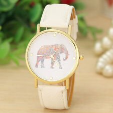 Ladies Fashion Elephant Printing Pattern Weaved Leather Quartz Casual Dial Watch
