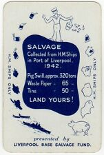 Playing Cards 1 Swap Card - Old Vintage 1942 HM SHIPS Liverpool SALVAGE Sailor