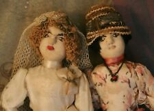 Antique Cloth Bride Doll and Bridesmaid Doll, 6 IN, Ca. 1920's Needle Sculpted