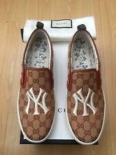 NEW GUCCI MENS SHOES CANVAS SNEAKERS TRAINERS UK 10 44 N Y YANKEES PATCH DUBLIN