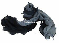 New Sexy Crinkled 100% Silk Long Skinny Neck Scarf Handmade, Shaded Black/Gray