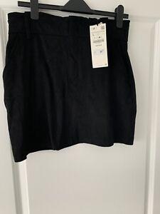 Zara Black Skirt Paper Bag Waist Zip Up L