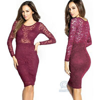Long Sleeve Red Lace Midi Sexy Bodycon Formal Prom Evening Party Pencil Dress